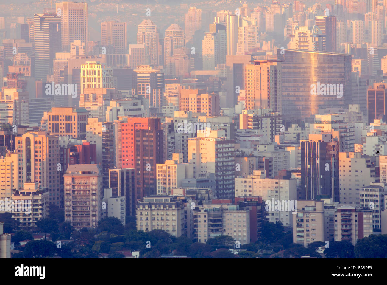 Sao Paulo skyline in the city centre, showing business and residential buildings - Stock Image