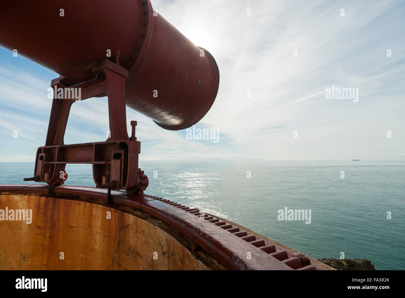 The fog horn of the Mull of Galloway lighthouse, Dumfries and Galloway, Scotland, UK - Stock Image