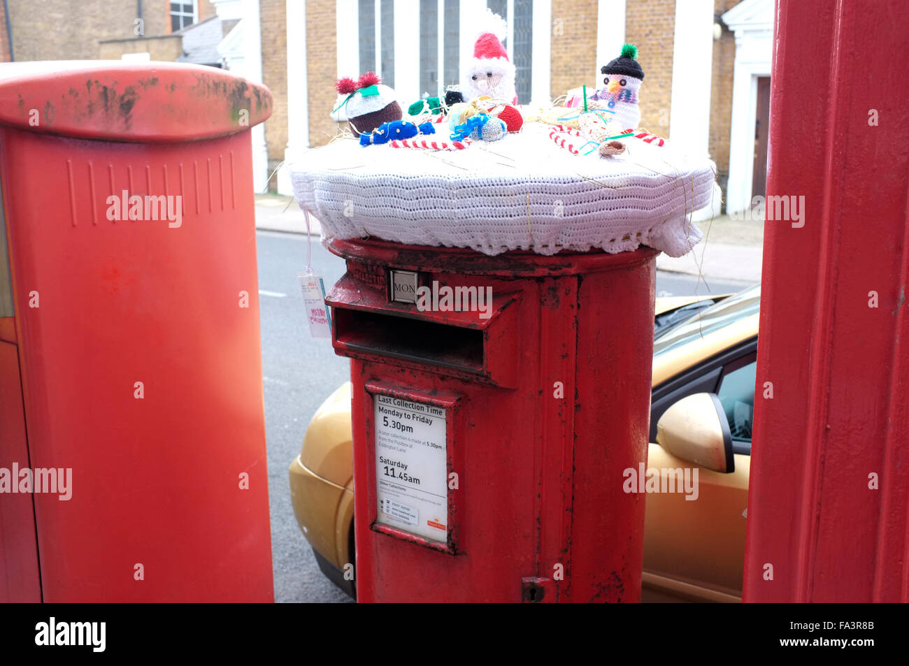 xmas decorated post box in coastal town of herne bay in east kent uk december 2015 - Stock Image