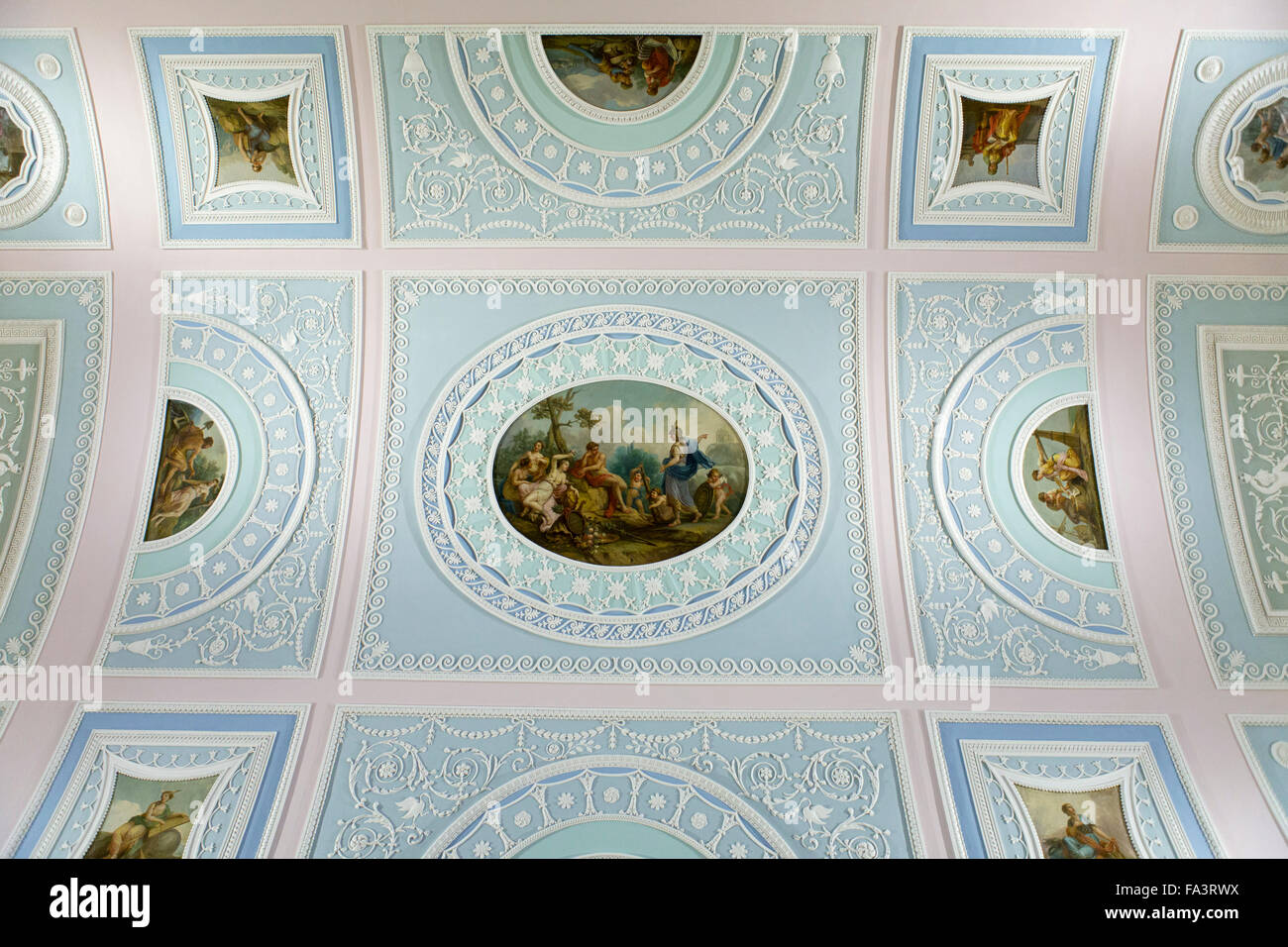 The ceiling of the Robert Adam library in Kenwood House, Hampstead, London, England - Stock Image
