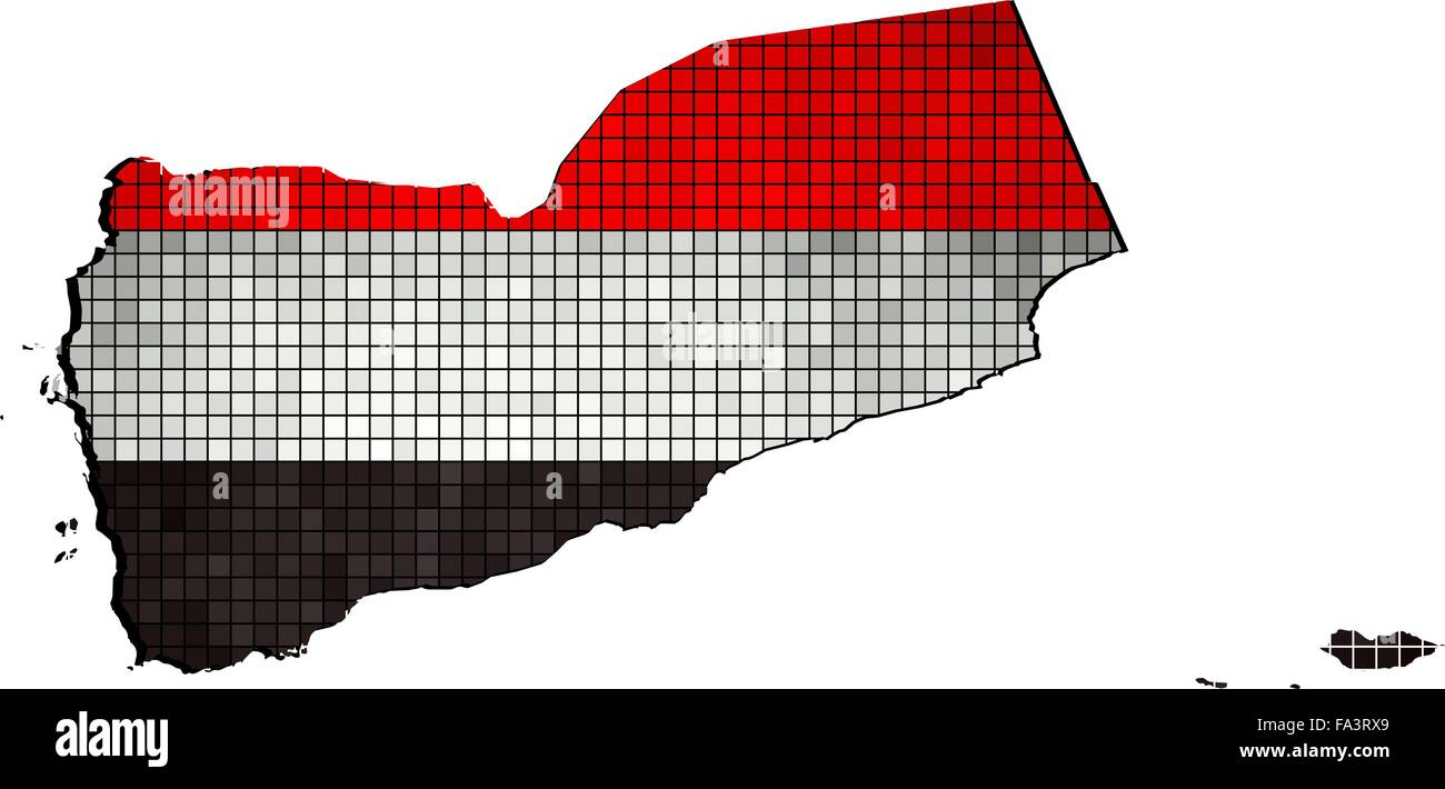 Yemen map with flag inside - Stock Vector