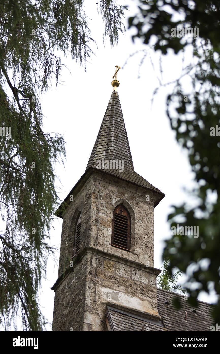 Herreninsel, Chiemsee, Germany, lake, water, boat trip, tourism, travel, island, church, steeple, - Stock Image