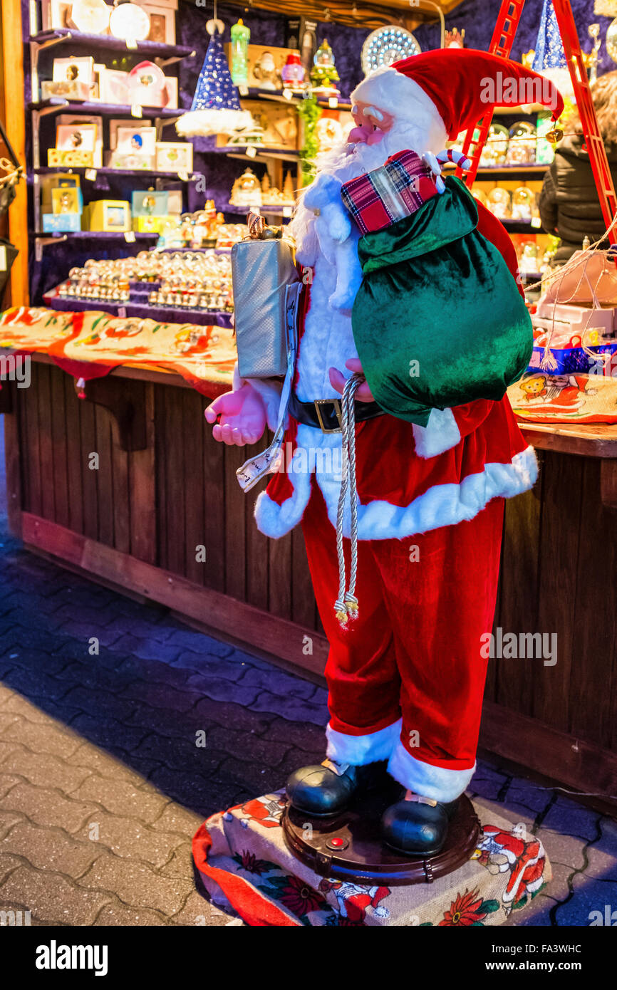 Berlin. German Weihnachtszeit Christmas market stall with Father Christmas - Stock Image