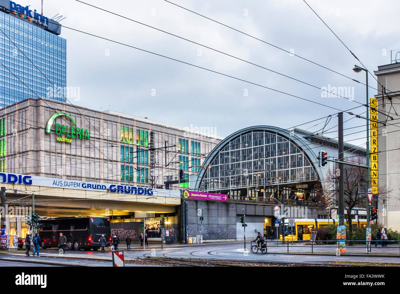 Berlin Alexanderplatz S-bahn railway station, tram and Galeria Kaufhof department store and Park Inn hotel - Stock Image