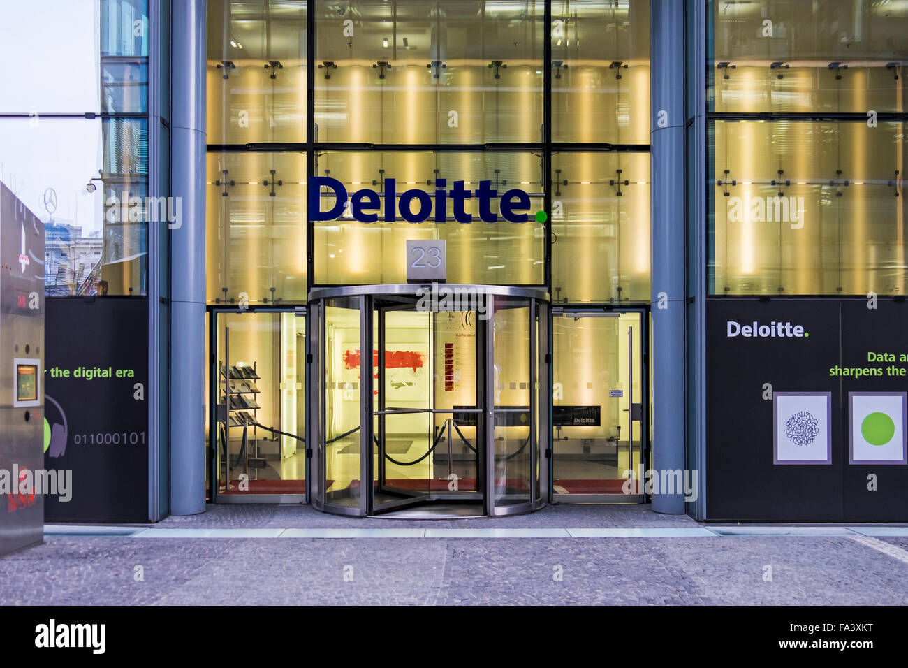 Deloitte accountants office exterior at the Neues Kranzler Eck modern shopping centre, Berlin - Stock Image