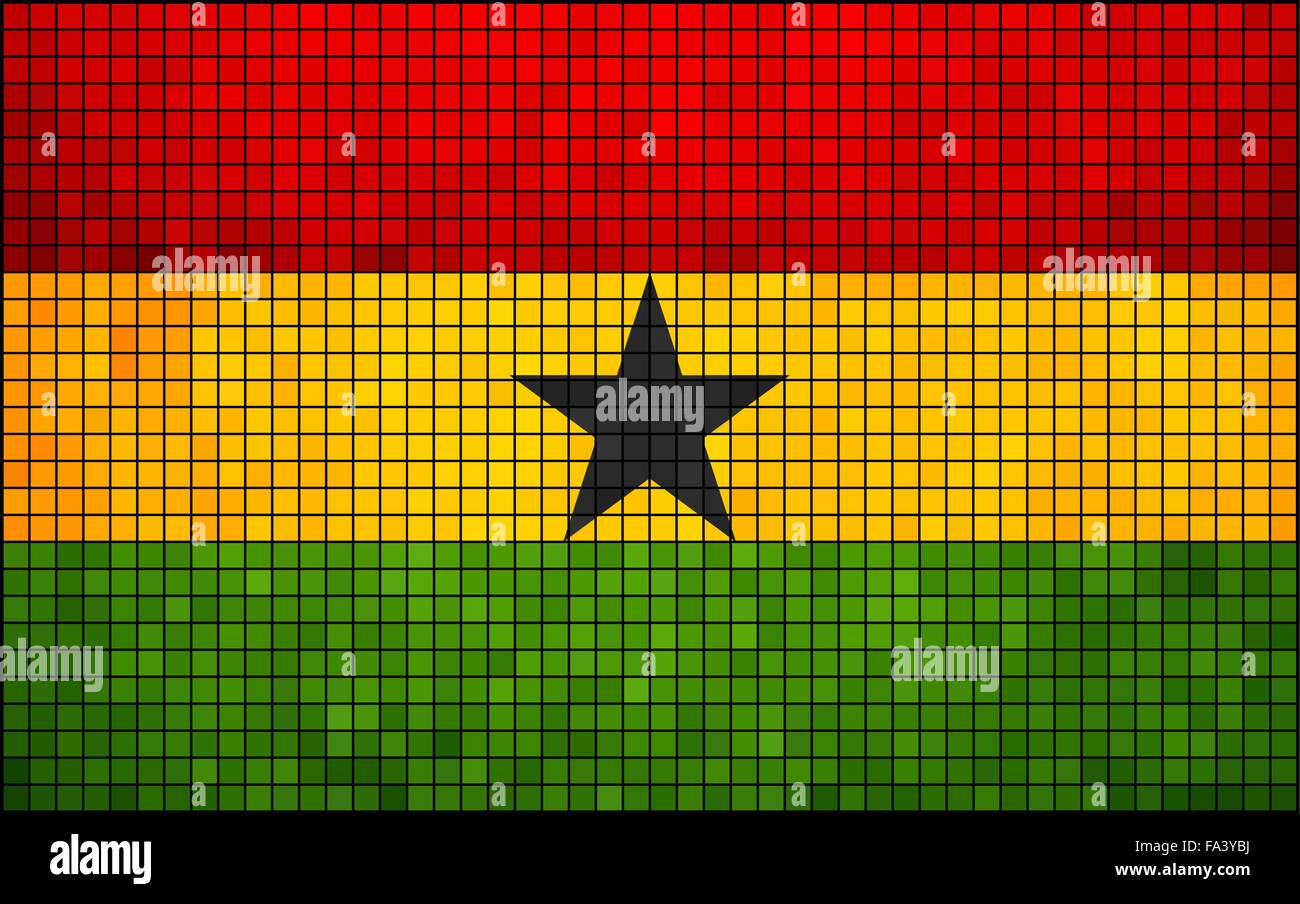 Abstract Mosaic Flag of Ghana - Stock Vector