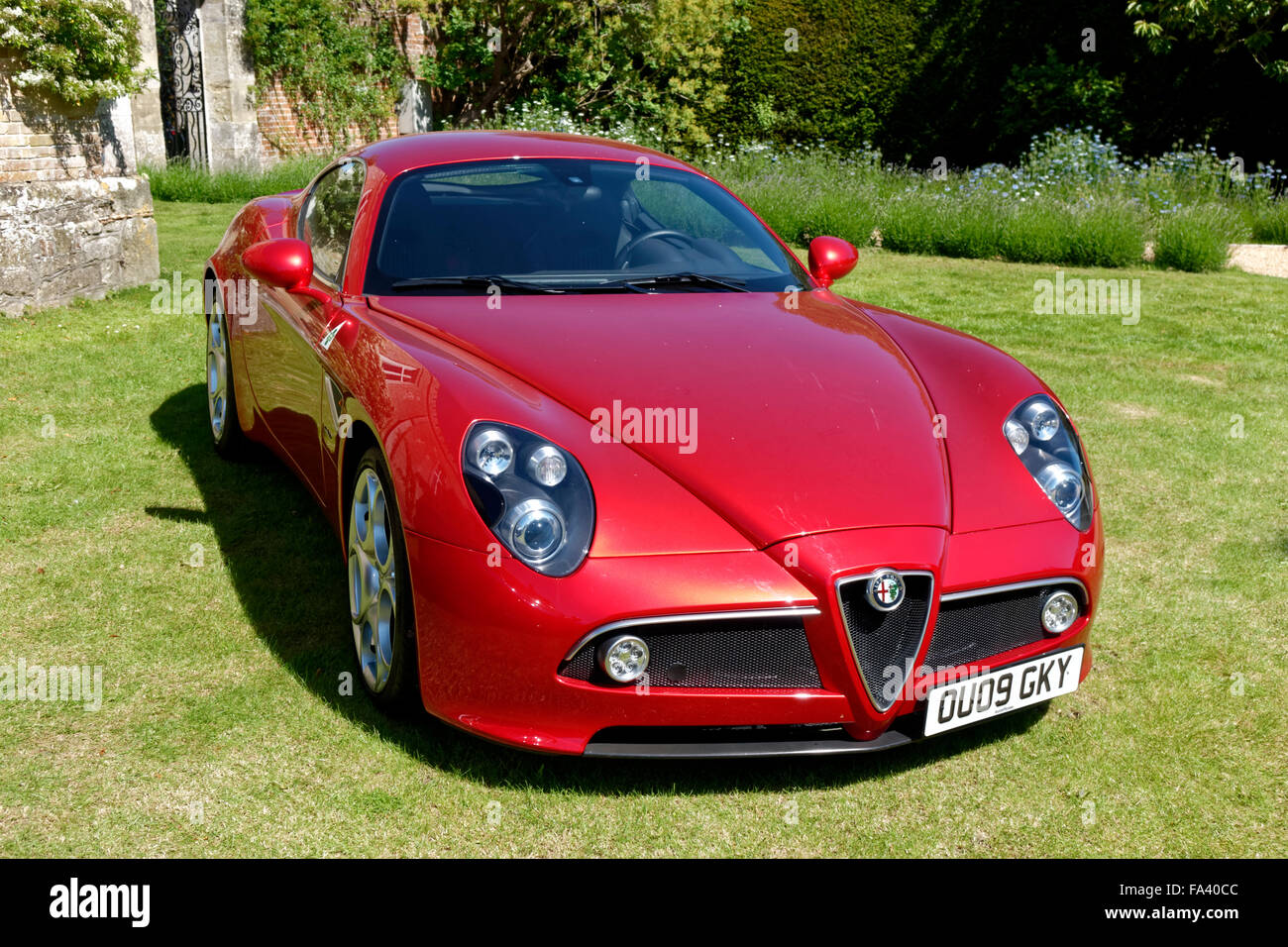 An Alfa Romeo 8C Competizione Sports Coupe motor car at the Wilton House Classic & Supercar Show, Wiltshire, - Stock Image