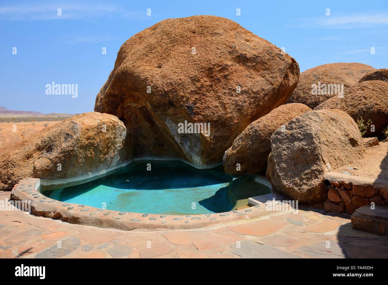 Plunge pool at Camp Kipwe Lodge in Damaraland, Namibia - Stock Image