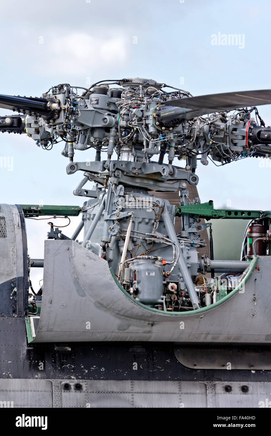 The main rotor head assembly of a Flotilla 32F French Navy/Aéronavale Aérospatiale SA 321G Super Frelon - Stock Image
