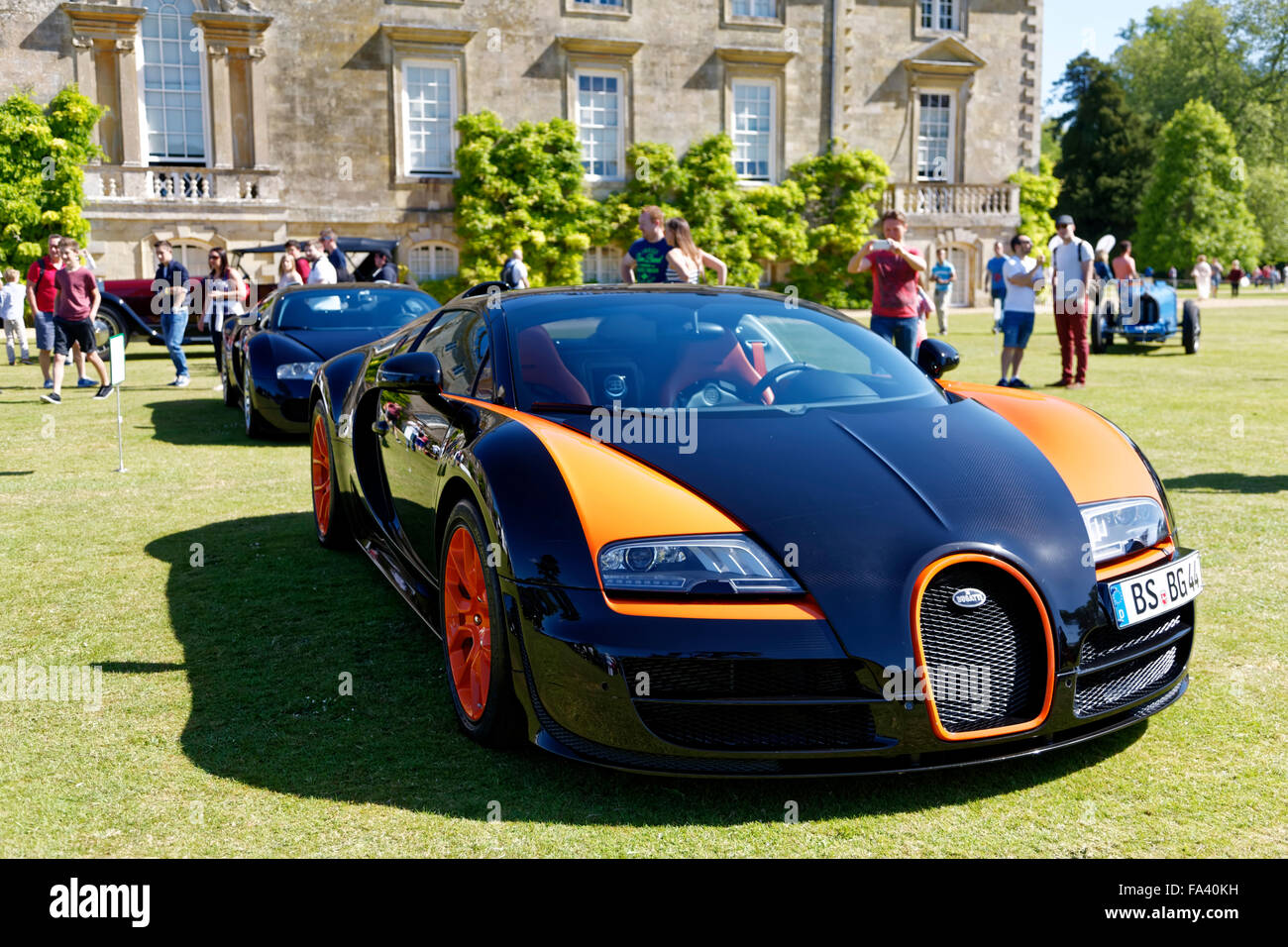 A Bugatti Veyron Sports car at the Wilton House Classic & Supercar Show, Wiltshire, United Kingdom, 2015. - Stock Image