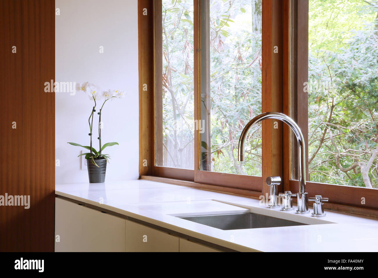 Detail of kitchen sink, counter and window. Hudson Valley Private ...