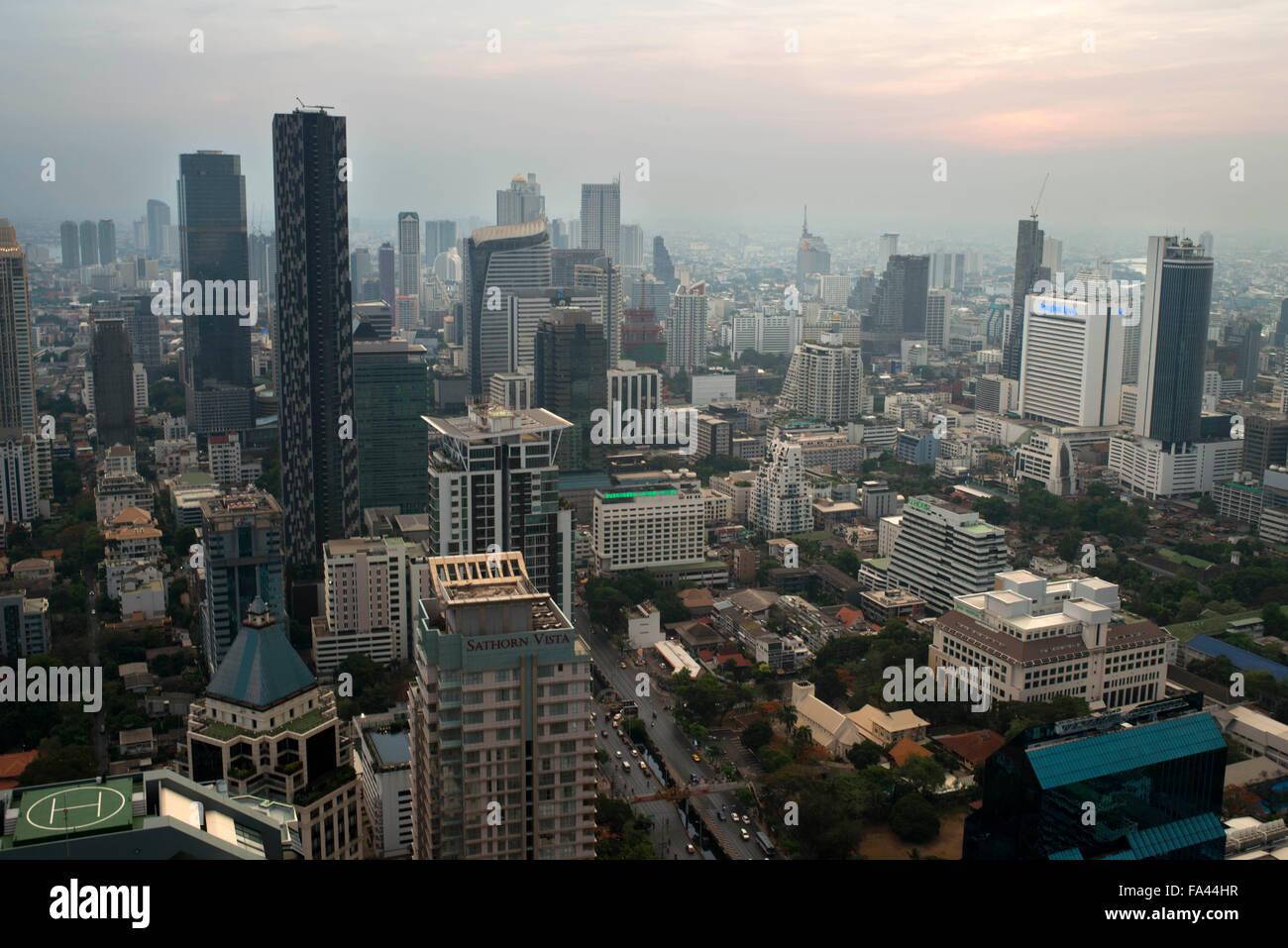 Landscape, views. Banyan Tree Rooftop Vertigo & Moon Bar, Restaurant, , Bangkok , Thailand. View of the city, - Stock Image