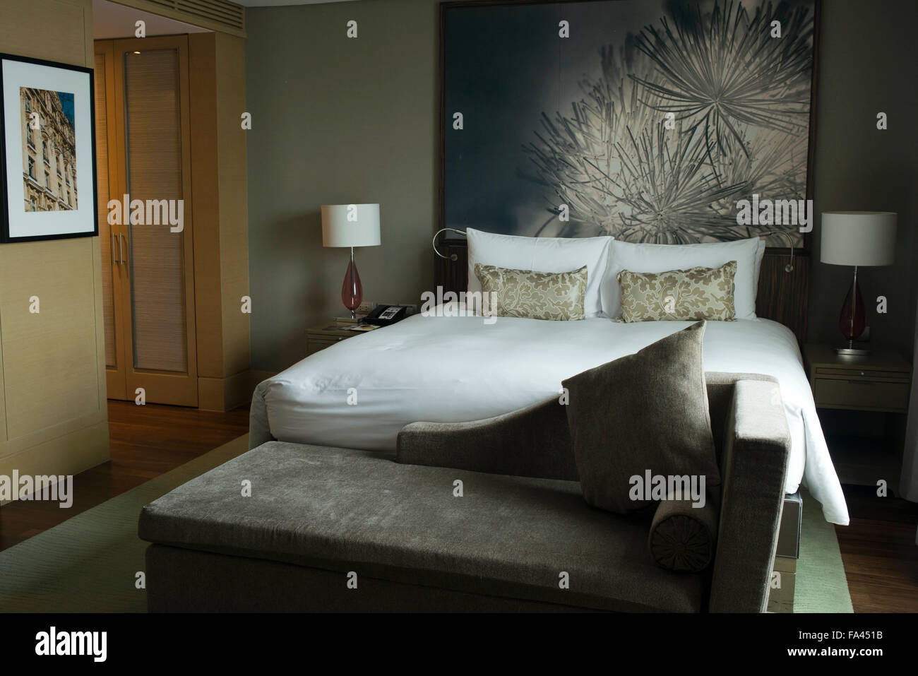 Bedroom in the luxurious Sofitel Hotel in the city of Bangkok in Thailand. Stock Photo
