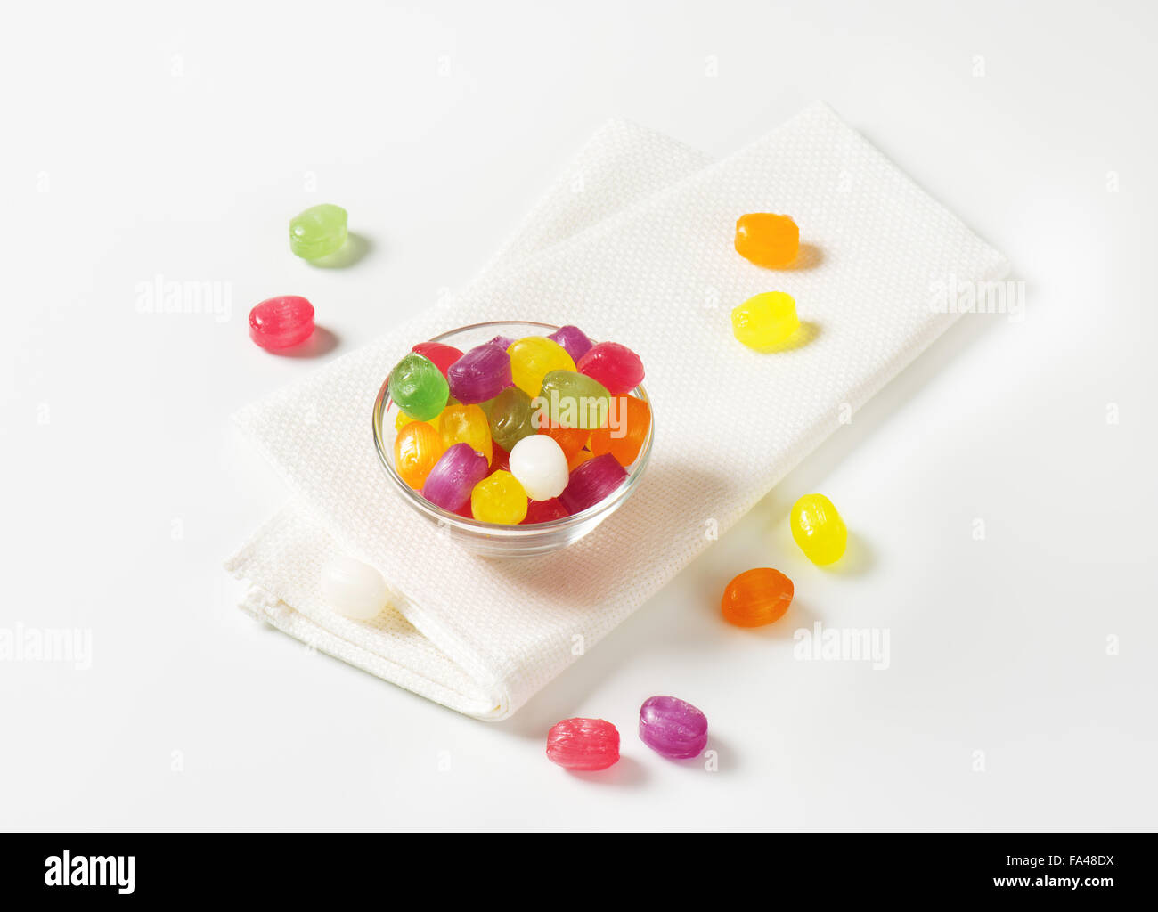 Fruit flavored hard candy drops - Stock Image