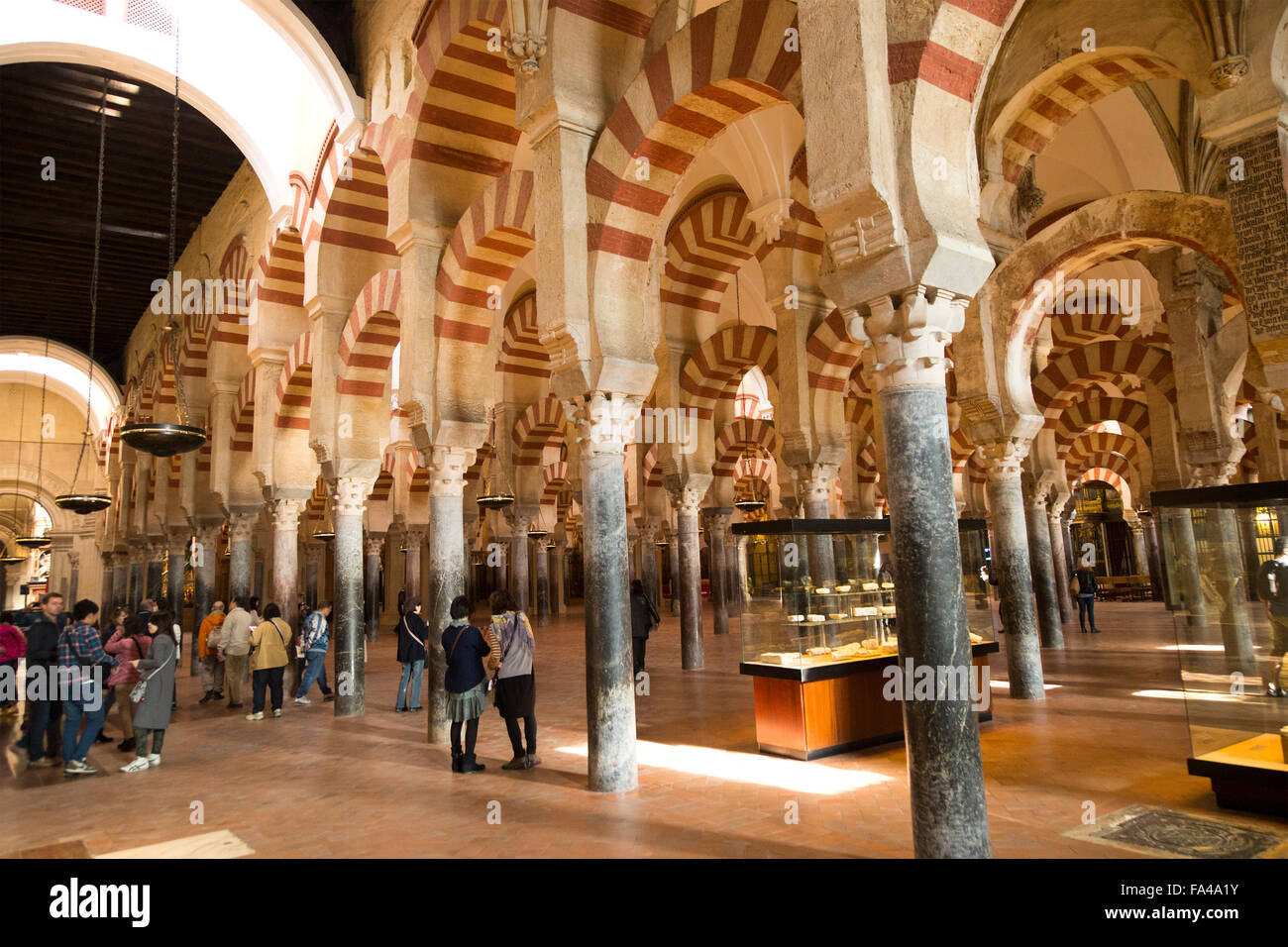 Moorish arches in the former mosque now cathedral, Cordoba, Spain - Stock Image