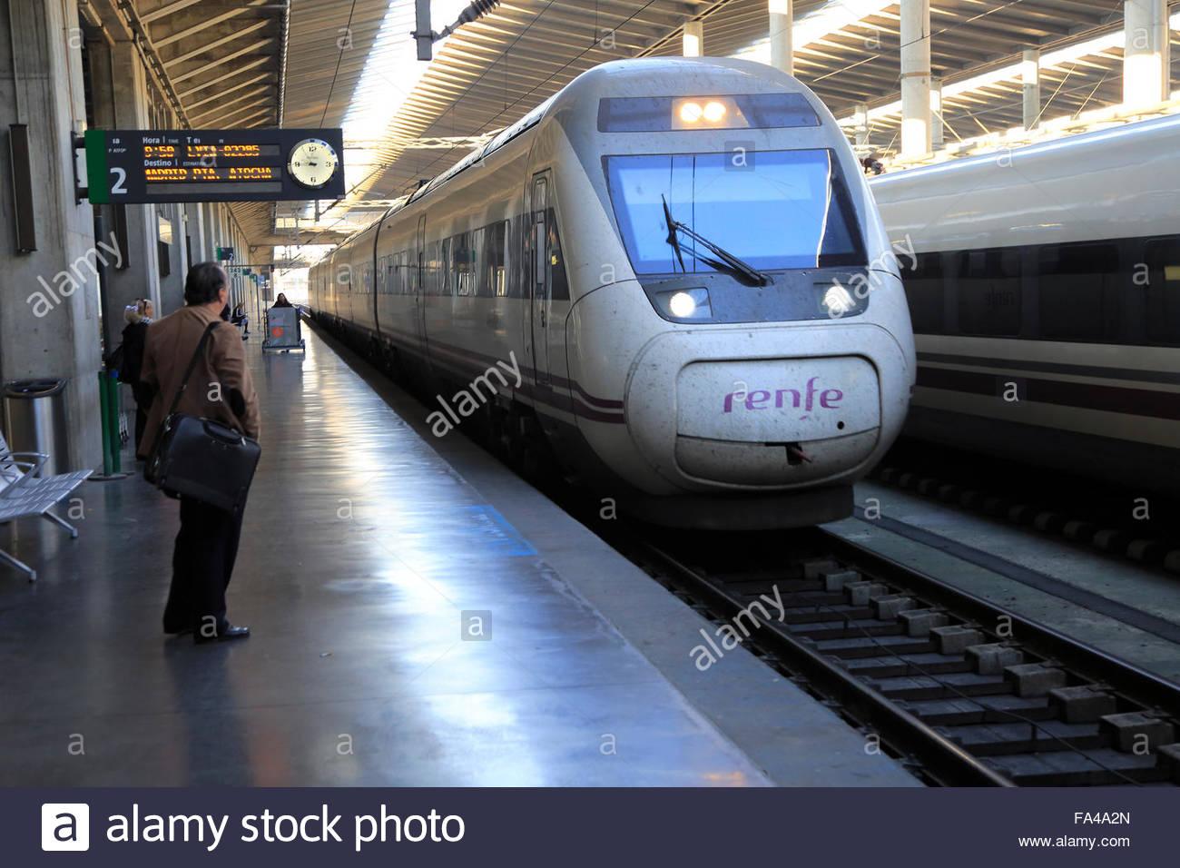 RENFE train at platform, Cordoba railway station, Spain - Stock Image