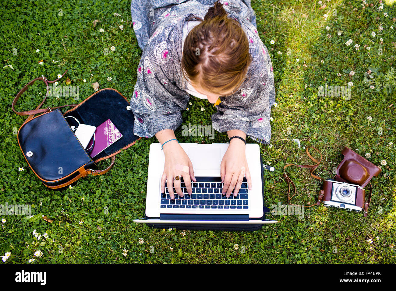 High angle view of freelancer using laptop at park - Stock Image