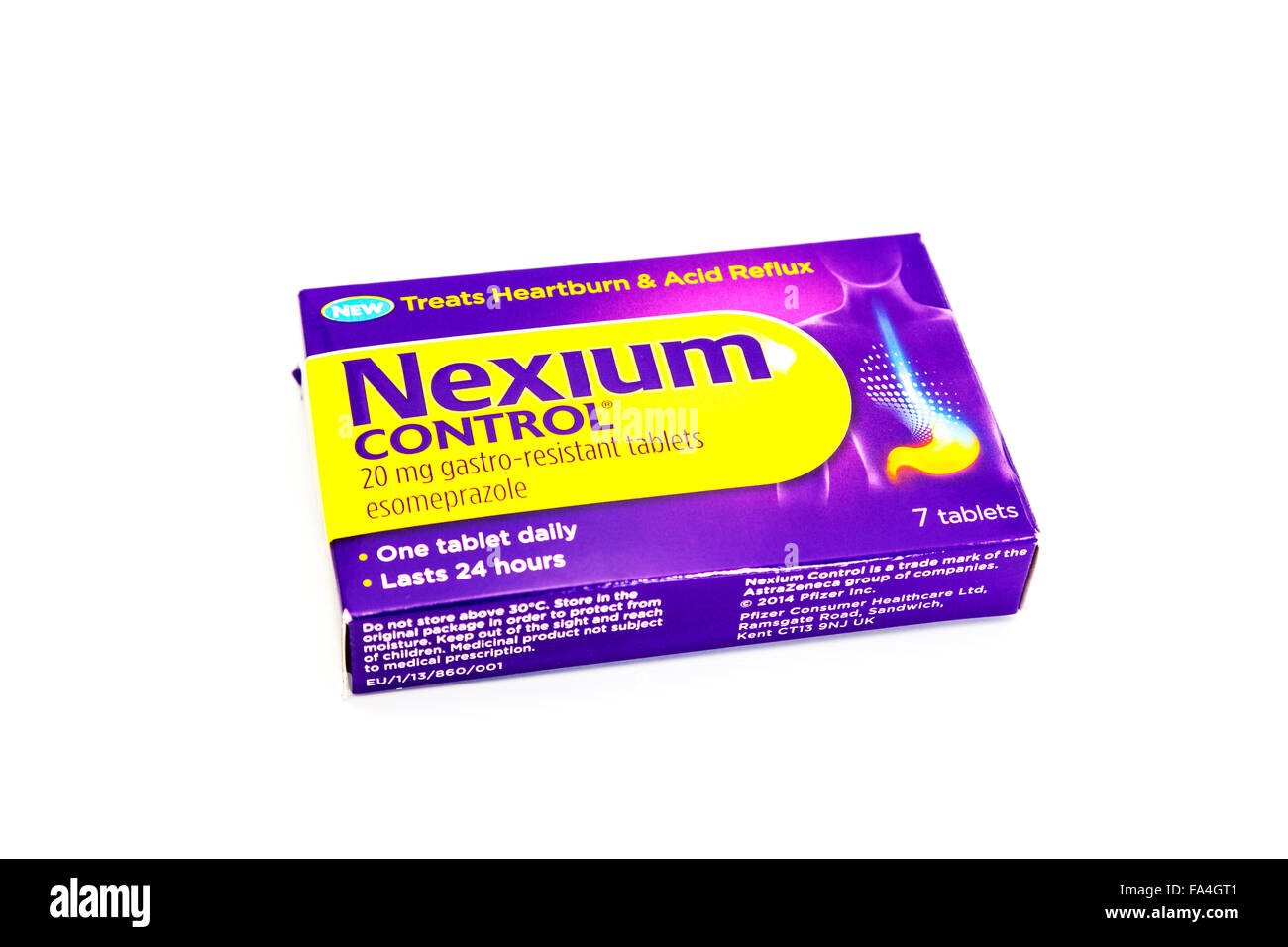 nexium control gastro resistant tablets heartburn acid reflux gerd relief  cutout cut out white background isolated