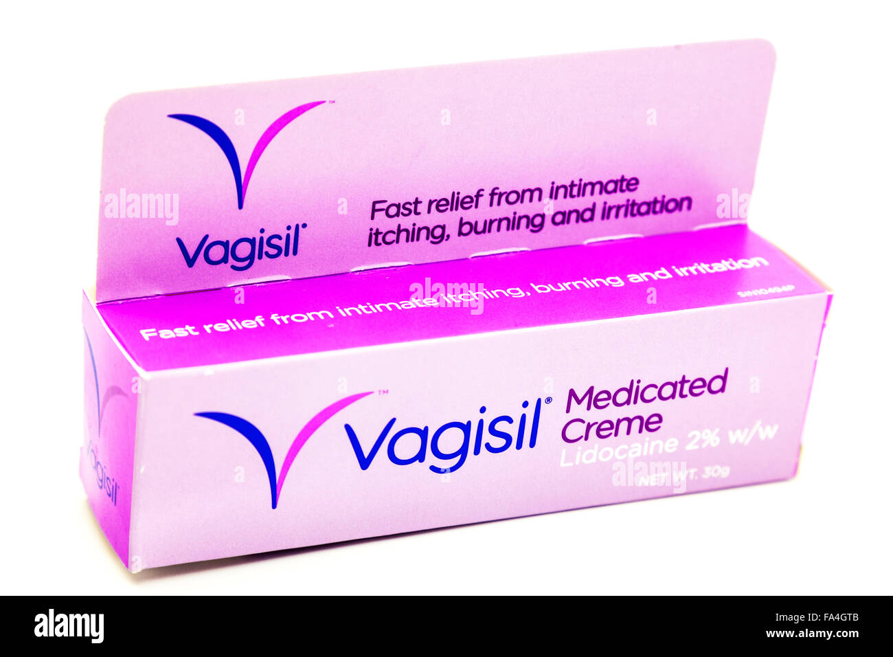 Vagisil medicated cream feminine genital itch itching thrush relief Cutout cut out white background isolated copy - Stock Image