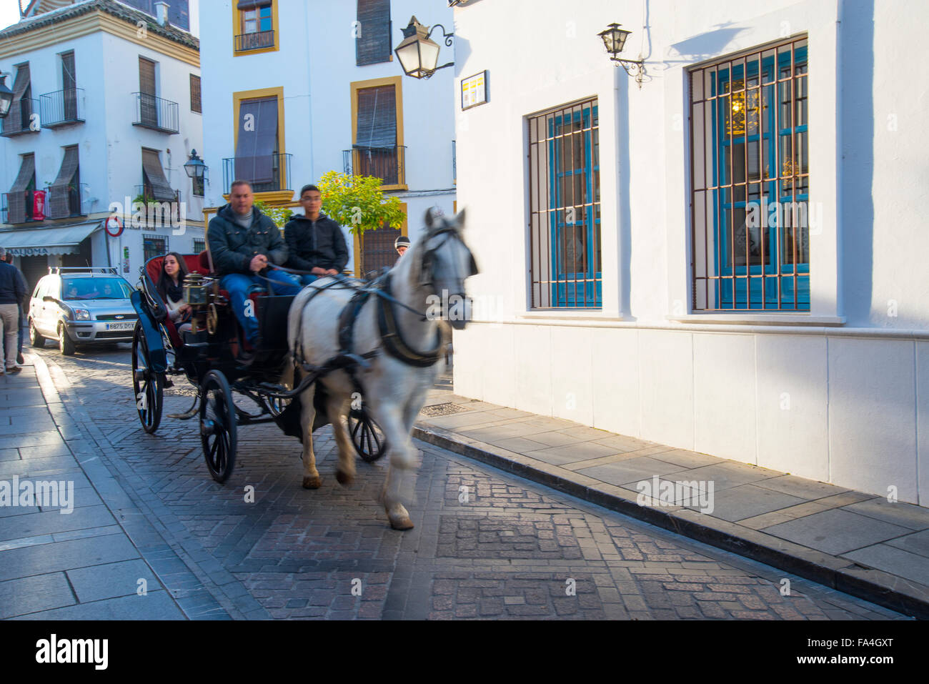 Horse-drawn carriage traveling along the street in the old town. Cordoba, Spain. - Stock Image