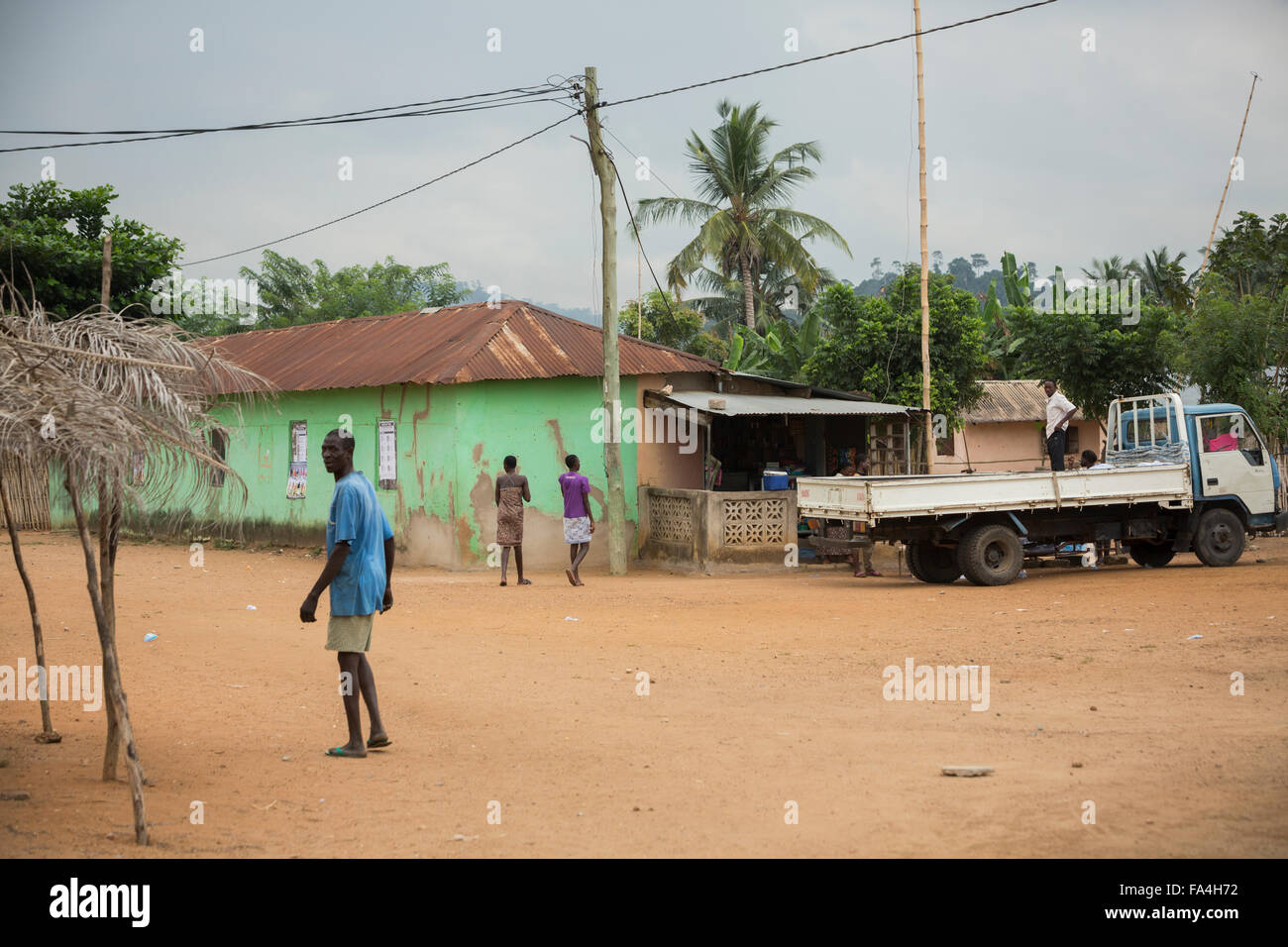 Neighborhood scene - Fotobi village, Southeast Ghana. Stock Photo
