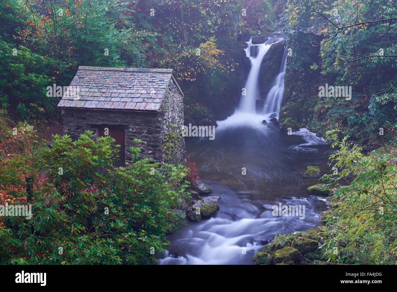 Rydal Hall Waterfalls - Lake District, England, UK - Stock Image