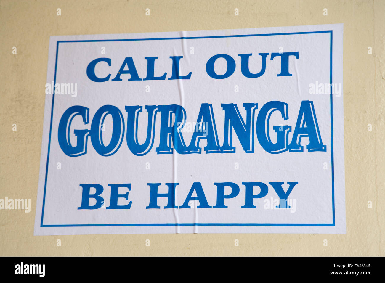 Poster saying Call out Gouranga be happy, Hare Krishna mantra - Stock Image