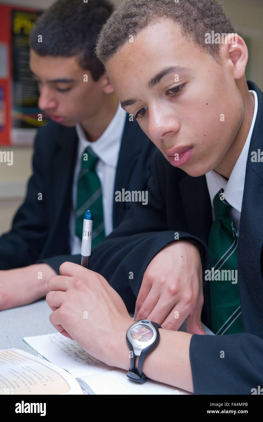 Secondary School student studying data and finding of experiments in Science lesson, - Stock Image