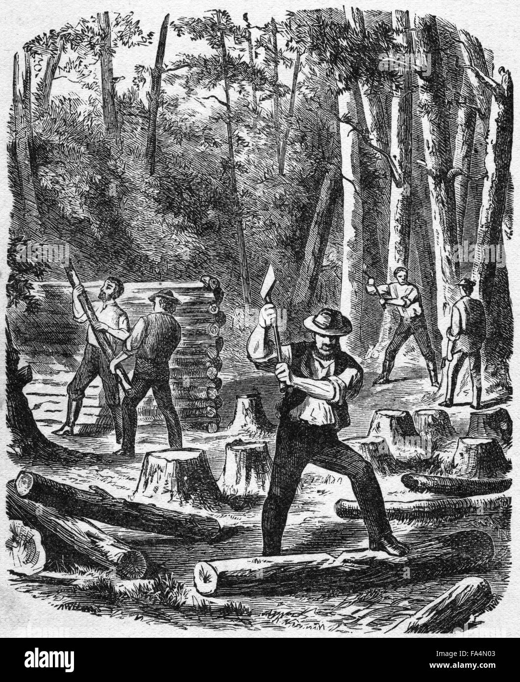 """Building the First House in Jamestown"" Book Illustration from ""Indian Horrors or Massacres of the Red Men"", by - Stock Image"
