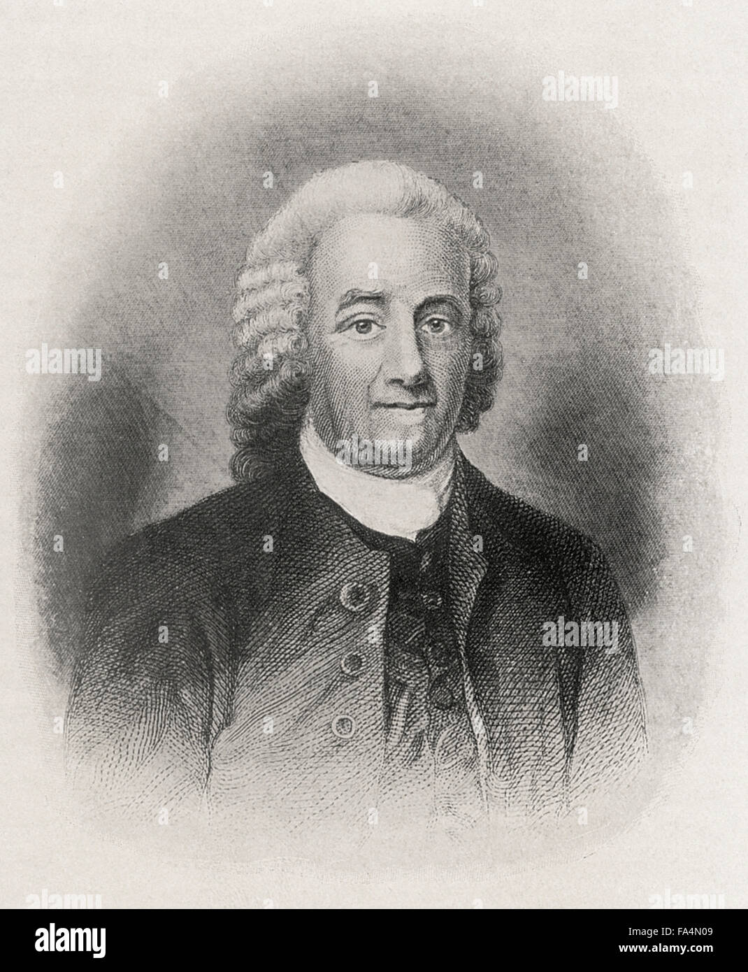 "Emanuel Swedenborg (1688-1772), also Swedberg, Scientist, Philosopher, Theologian, Best Known for this Book ""Heaven - Stock Image"