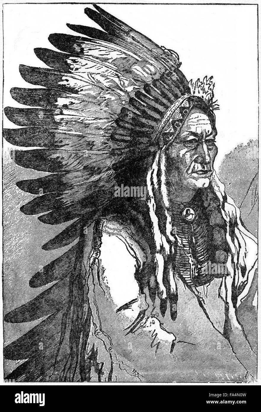 "Sitting Bull (1831-1890), Hunkpapa Lakota Chief, War-Dress, Book Illustration from ""Indian Horrors or Massacres - Stock Image"