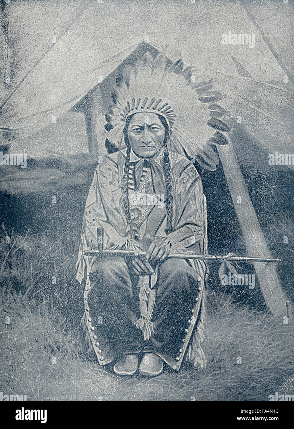 """Sitting Bull (1831-1890), Hunkpapa Lakota Chief, Book Photograph from """"Indian Horrors or Massacres of the Red Men"""", Stock Photo"""