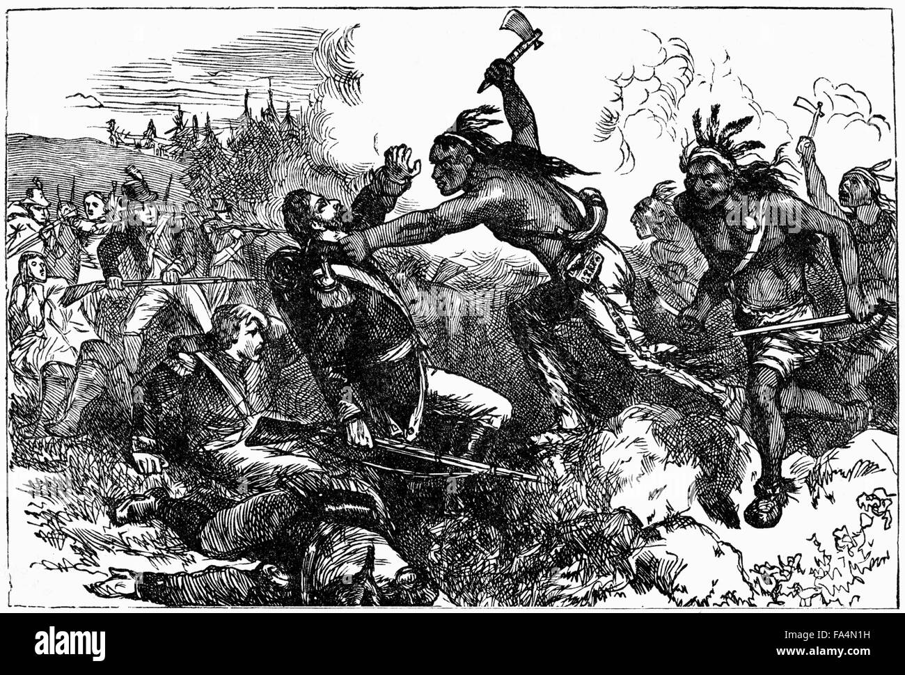 """""""Destruction of the Garrison at Wyoming"""", Wyoming Valley, Pennsylvania, Battle between American Patriots and Loyalists - Stock Image"""