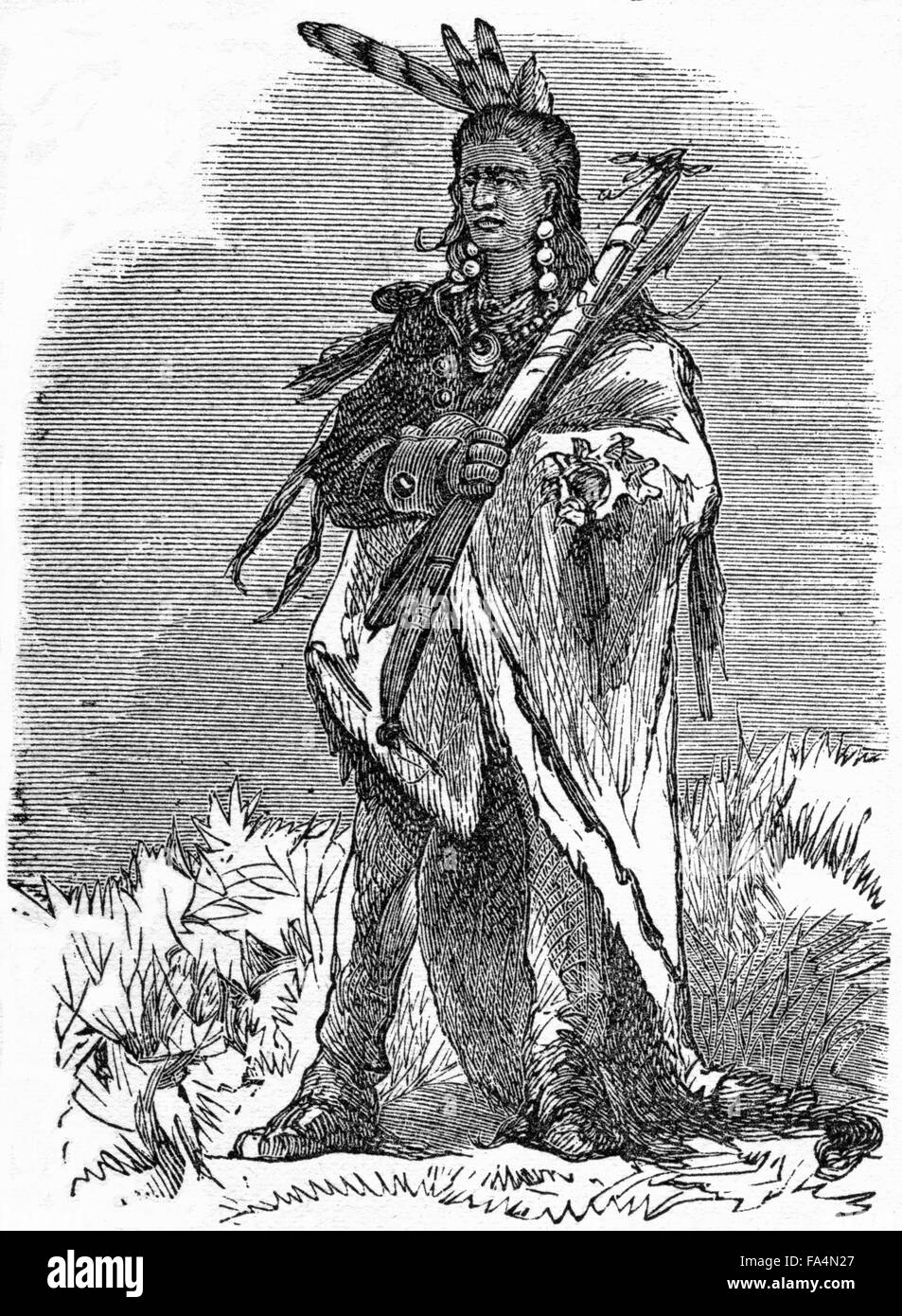 "Pontiac (1720-1769), Ottawa War Chief, Book Illustration from ""Indian  Horrors or Massacres of the Red Men"", by Henry Davenport Northrop, 1891"