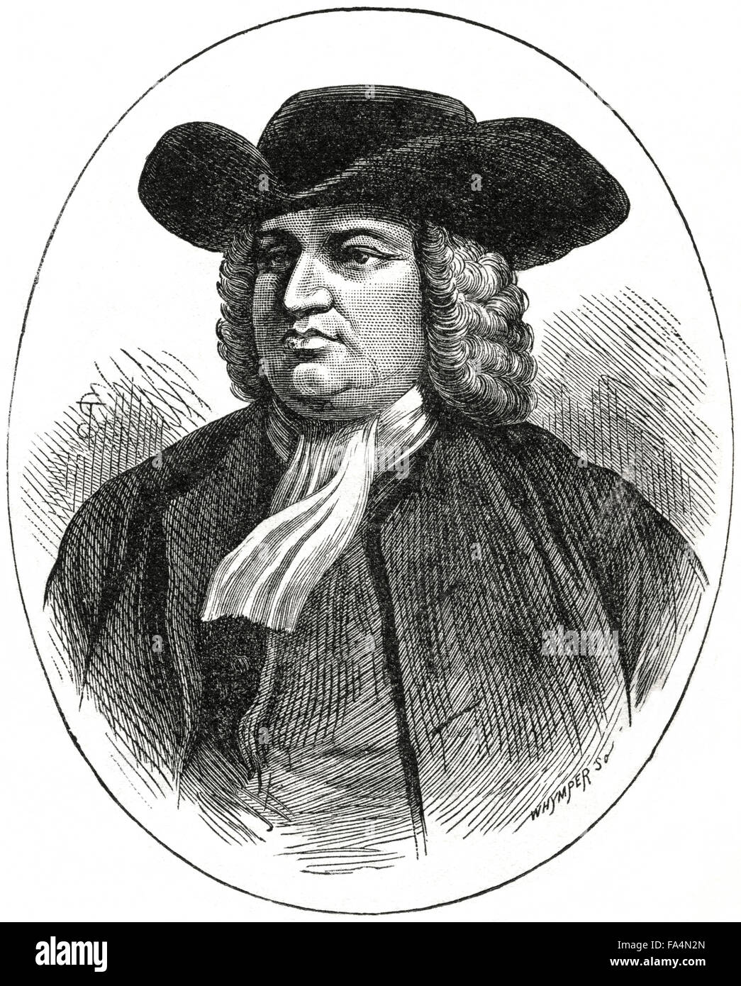 """William Penn (1644-1718), Founder of English Colony of Pennsylvania, Book Illustration from """"Indian Horrors or Massacres Stock Photo"""