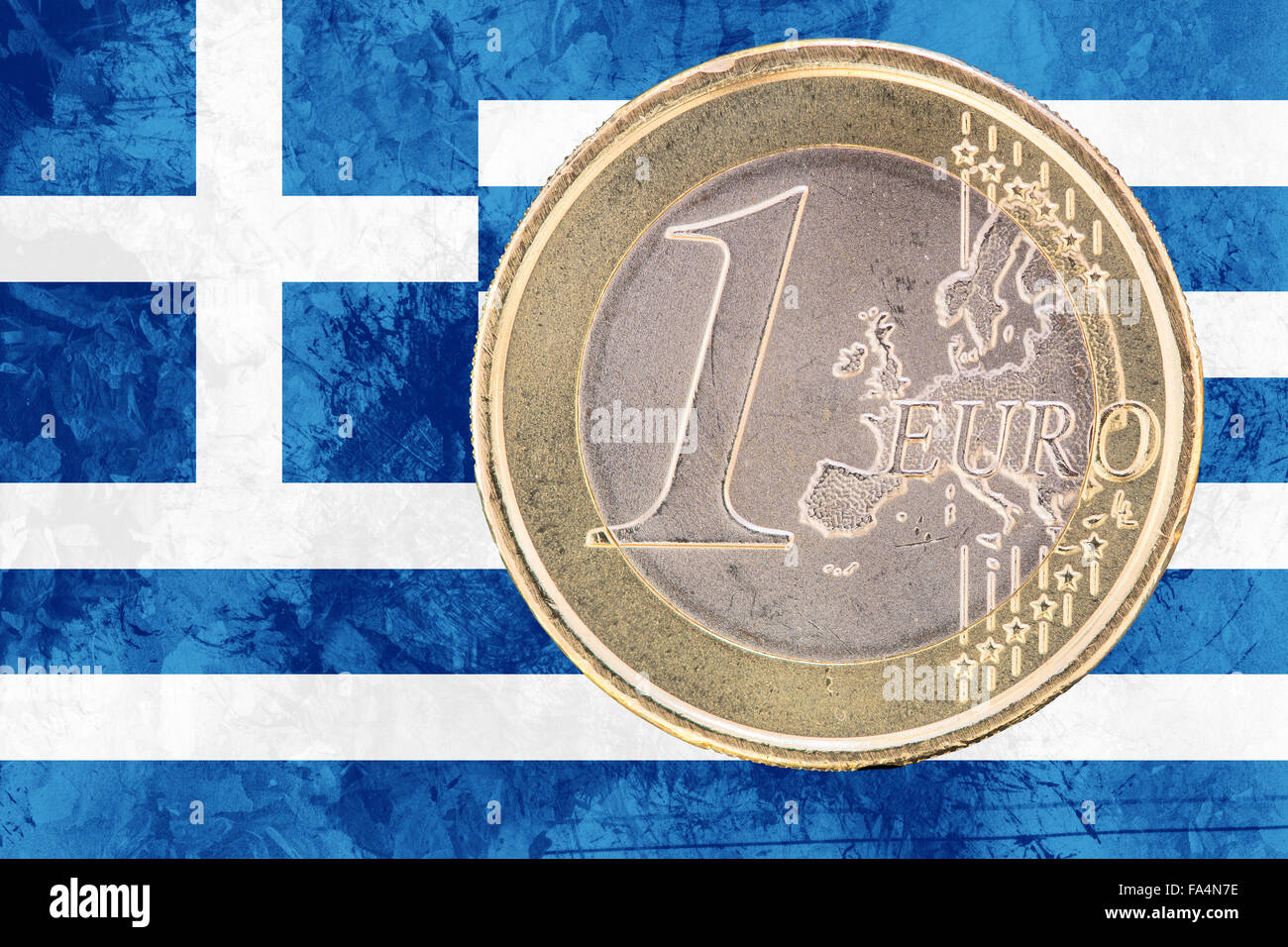 Common face of one euro coin from Greece isolated on the national greek flag as background - Stock Image