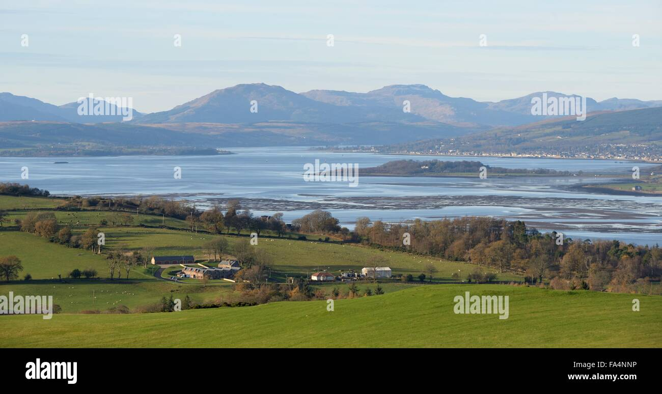 View north from Langbank over the river Clyde to Ardmore, Helensburgh and the Gare Loch in southwest Scotland, UK - Stock Image