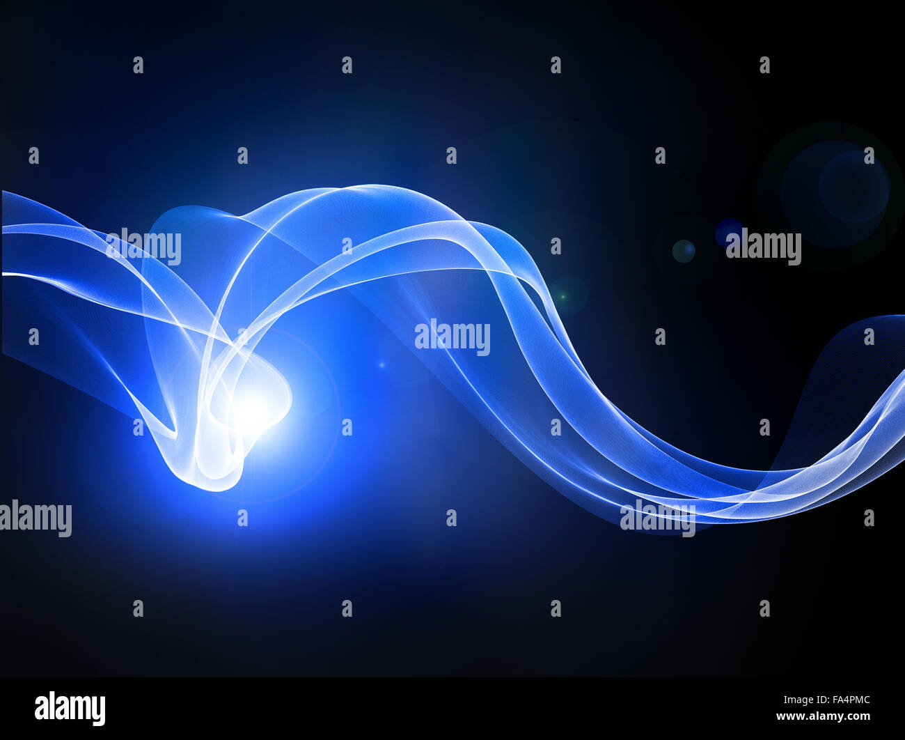 abstract lines with blue light on black. - Stock Image
