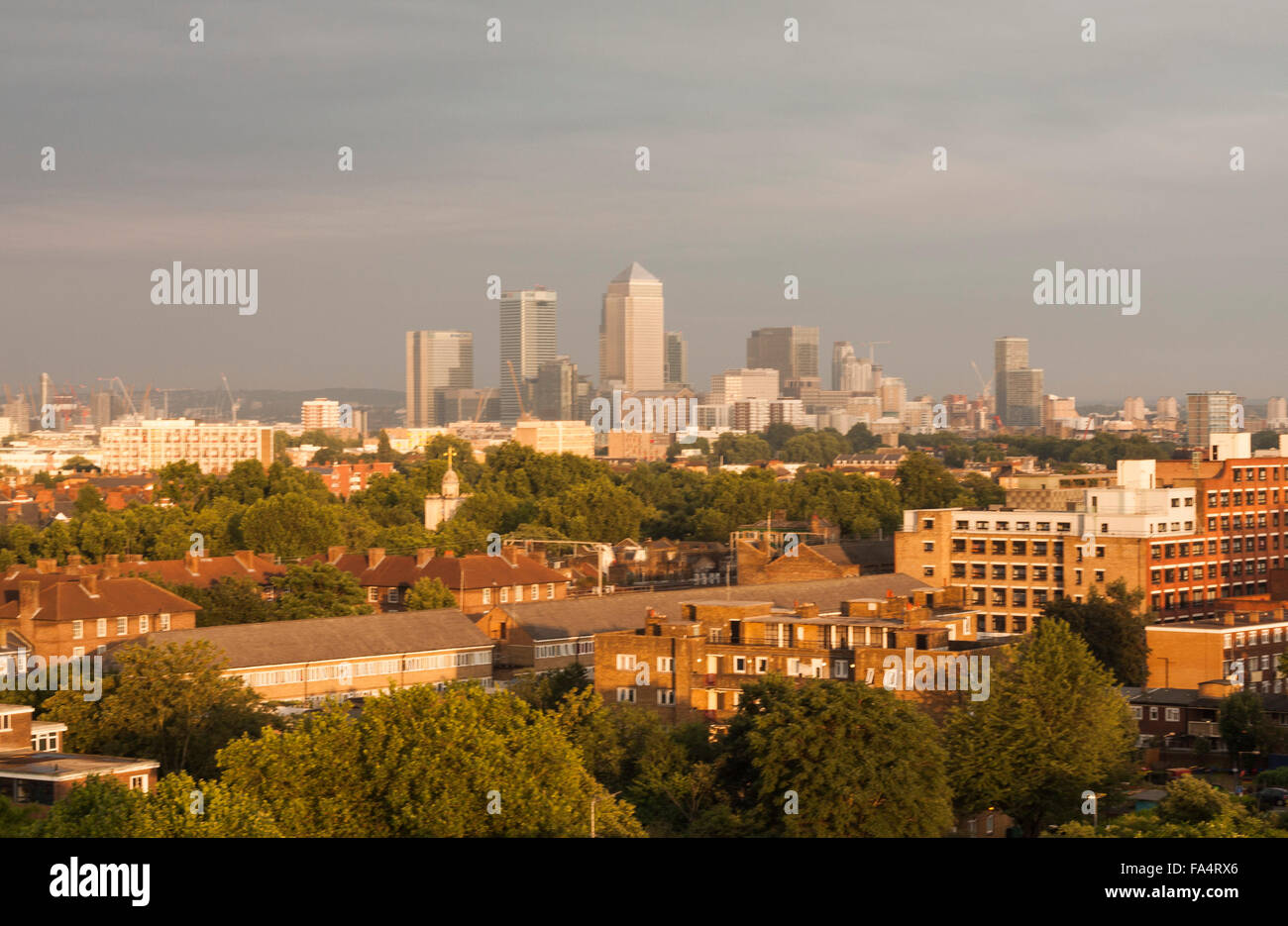 A rooftop view of the London city skyline around Canary Wharf - Stock Image