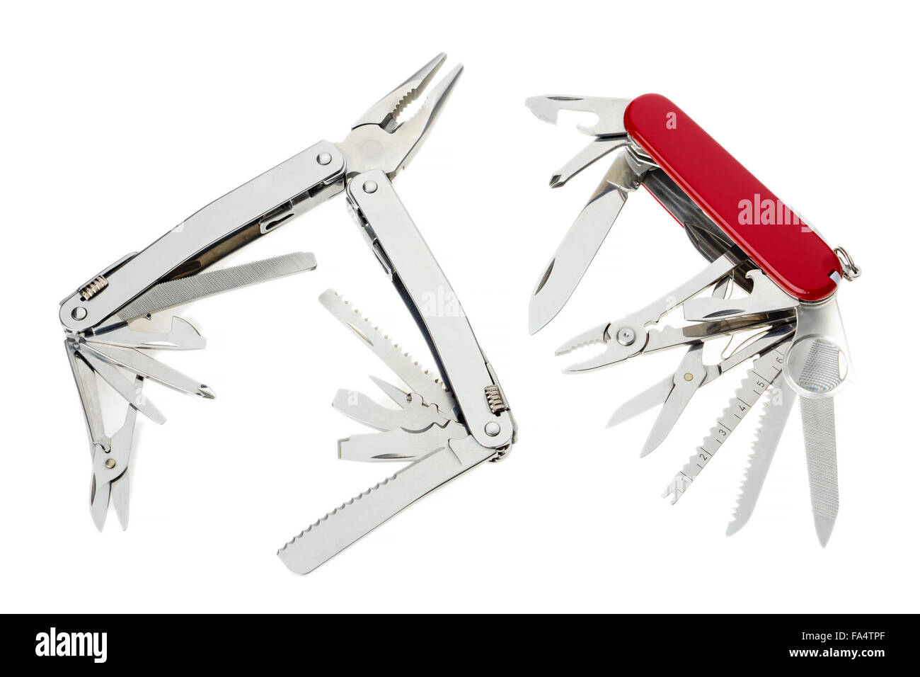 Couple of swiss army knives  isolated on white - Stock Image