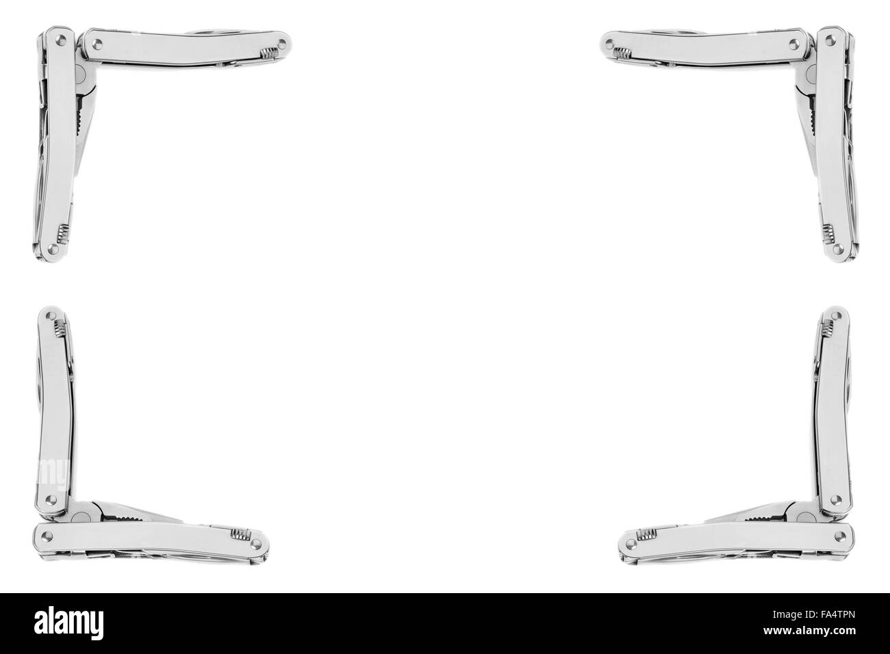 Frame of multitool army knives isolated on white - Stock Image