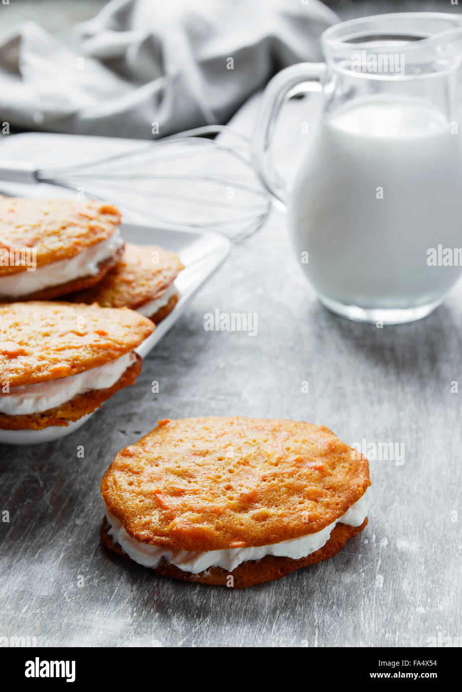 cream filled carrot cake cookies sandwich - Stock Image