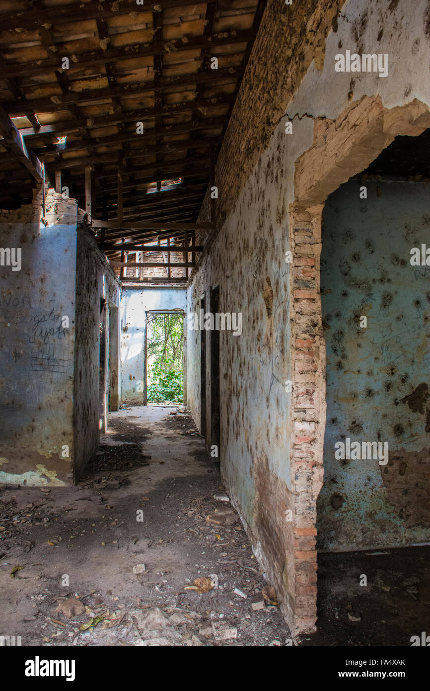 Hallway leading to doorway and greenery outside in an abandoned building in Mato Grosso, Brazil, South America - Stock Image