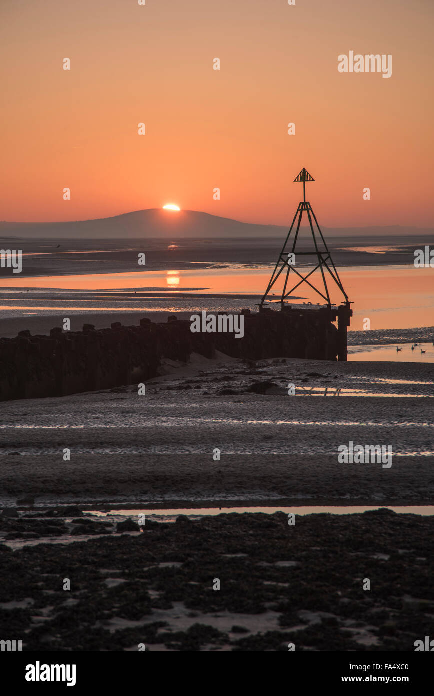 Sunset at the Loughor Estuary, Carmarthenshire, South Wales UK Stock Photo