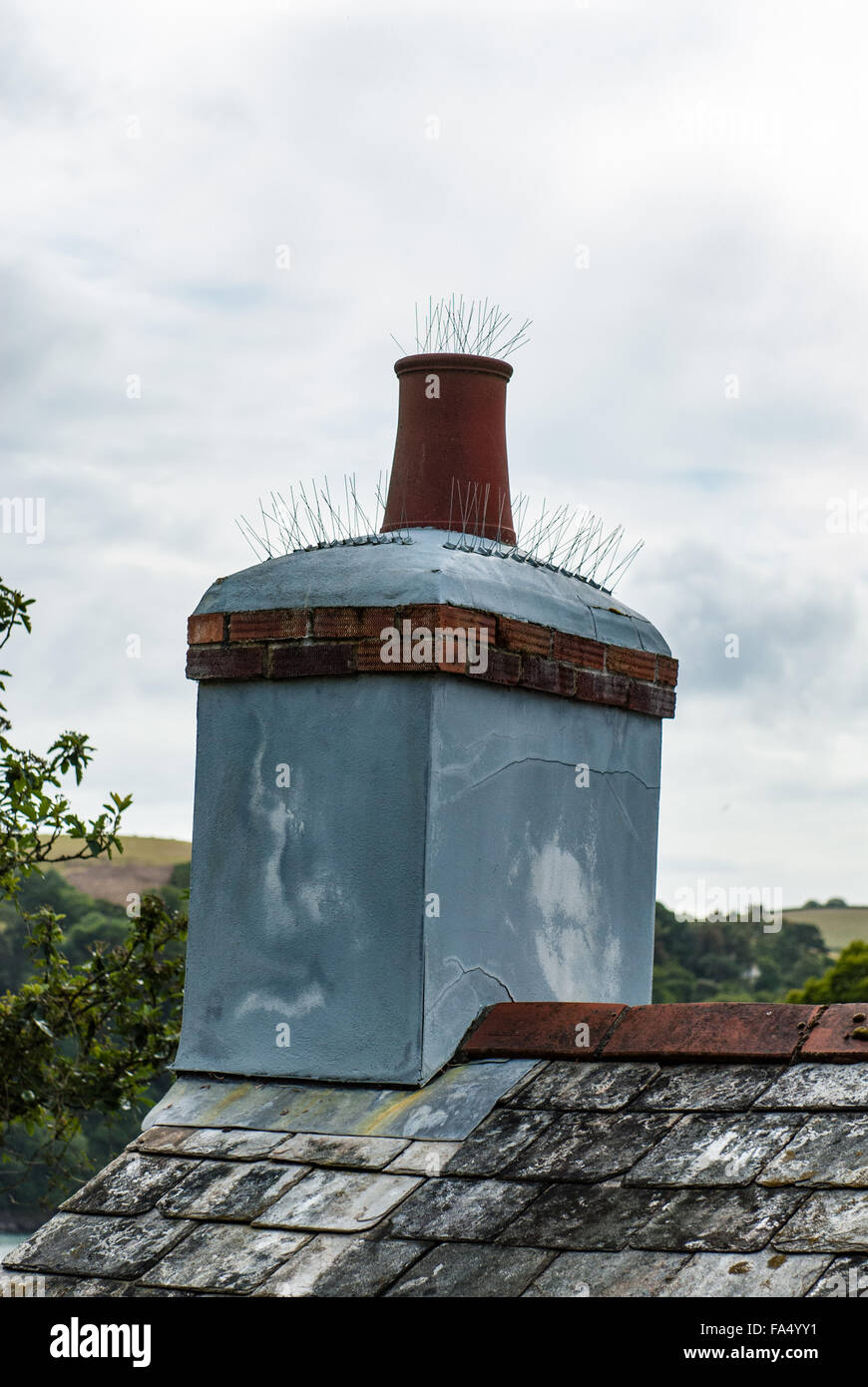Chimney with spikes attached as a bird deterrent to stop them landing. - Stock Image