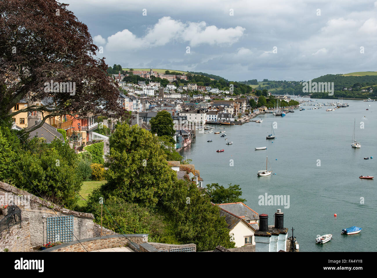 Views across the River Dart towards Dartmouth and Britannia Royal Naval College Stock Photo