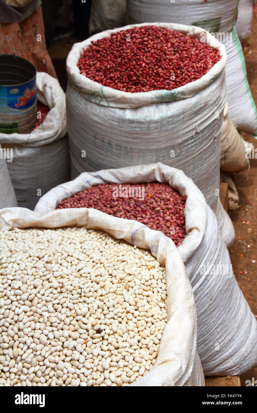 Bags of Red and White beans in an open air market in Africa - Stock Image