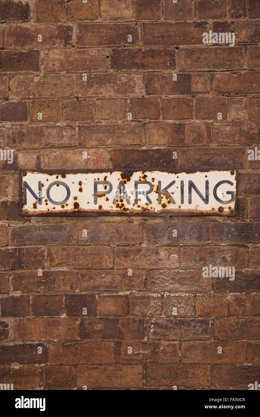 A no parking sign in Coalbrookdale, Ironbridge Gorge, Shropshire, UK - Stock Image