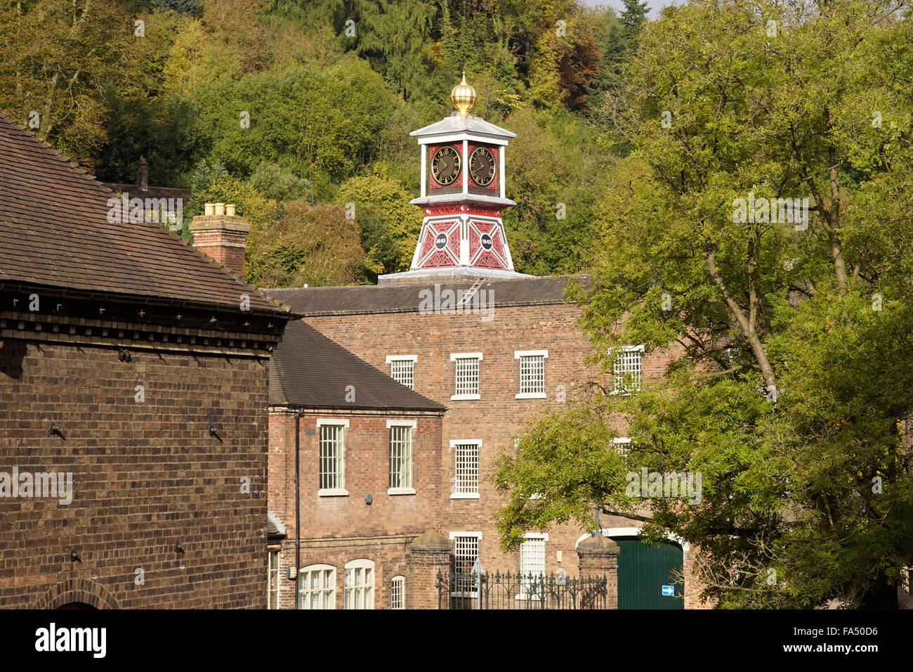 The clock tower at Engenuity in Coalbrookdale, Ironbridge, Shropshire, UK - Stock Image