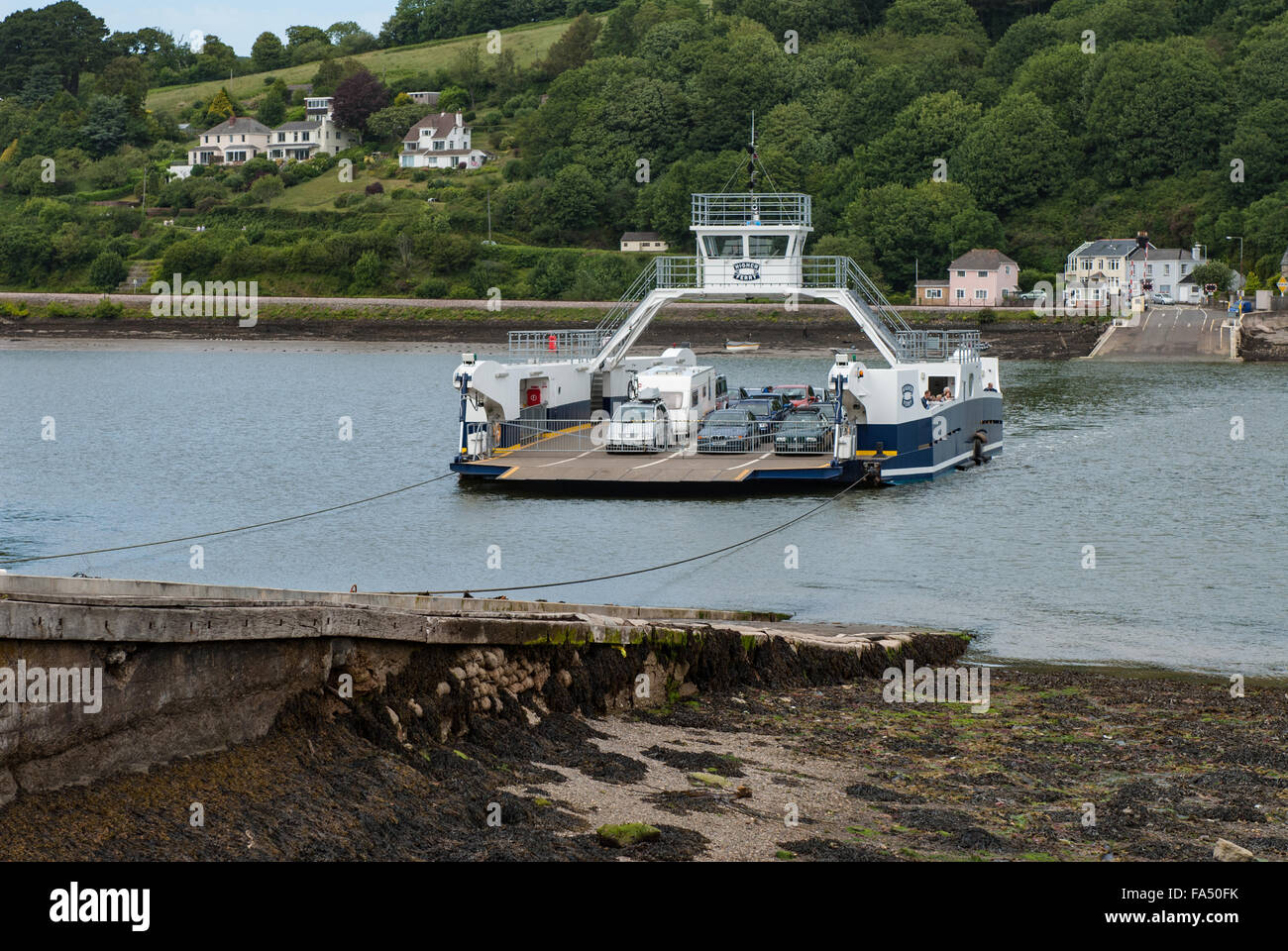 The Higher Ferry on the River Dart at Dartmouth, Devon, England, UK - Stock Image